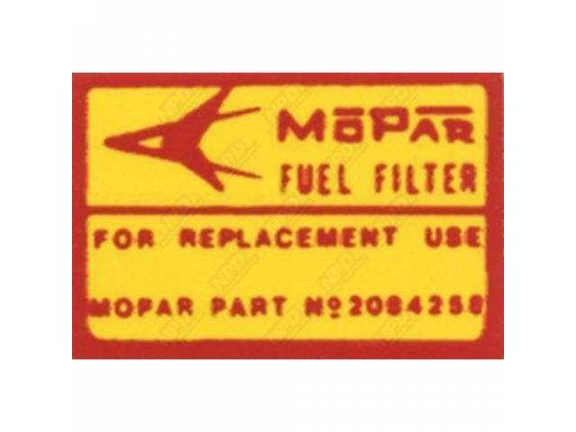 DECAL CANISTER FUEL FILTER CORRECT MATERIAL AND SCREEN