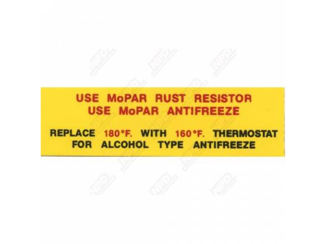 Decal Rust Resistor / Antifreeze Correct Material And