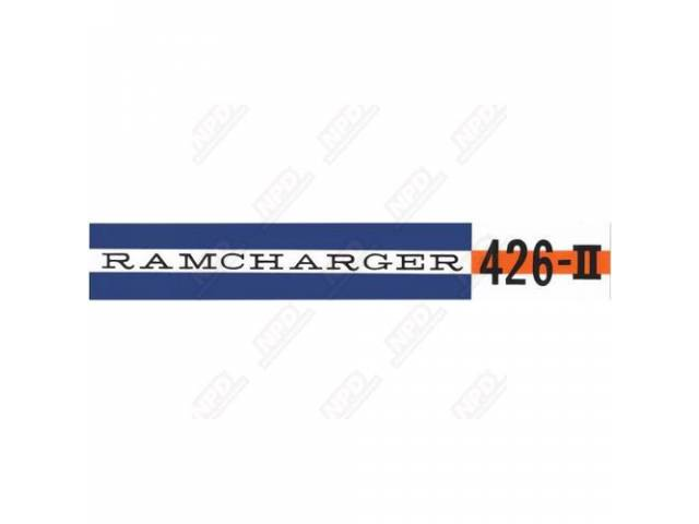 Decal, Ramcharger 426 Ii, Valve Cover, Correct Material And Screen Printed As Original, Officially Licensed Product By Chrysler Llc