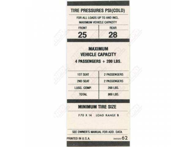 Decal Tire Pressure Correct Material And Screen Printed