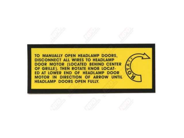Decal, Manually Open Hidden Head Lights, Correct Material