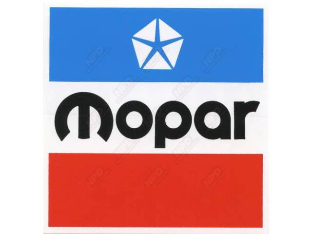 Decal, 4 Inch Square Mopar, Correct Material And