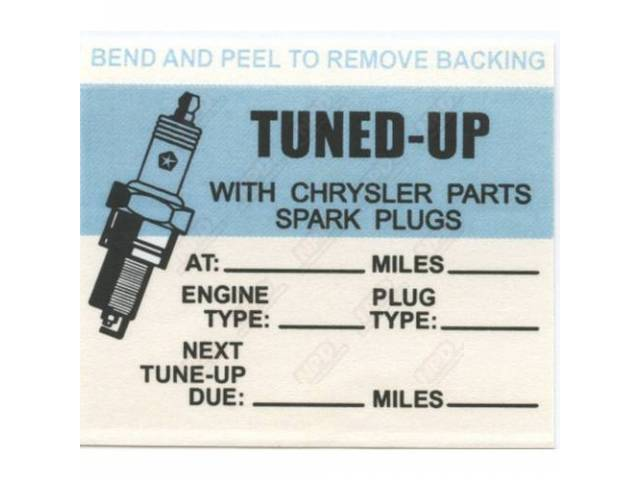 Decal Tune-Up Spark Plug Repro