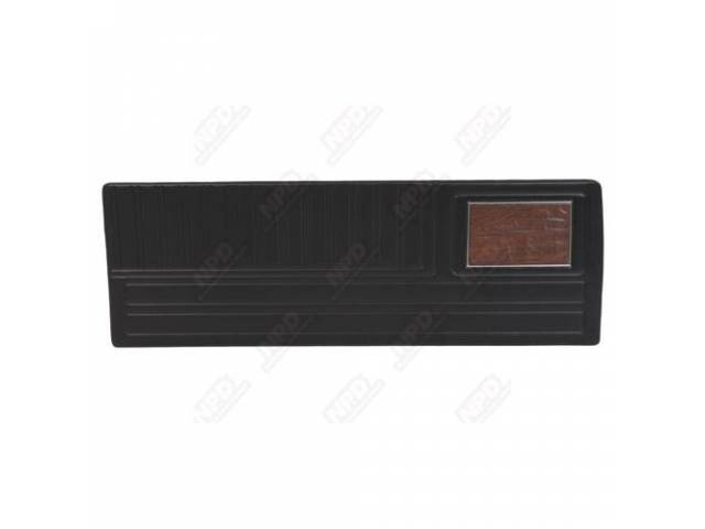 Front Door Panel, Black, W/ Chrome And Wood