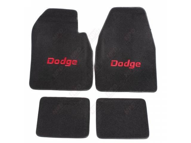 Floor Mat Black W/ Red Dodge