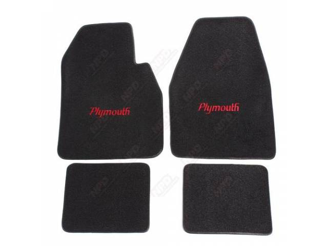 Floor Mat Black W/ Red Plymouth