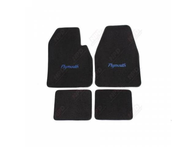 Floor Mat, Black W/ Blue Plymouth