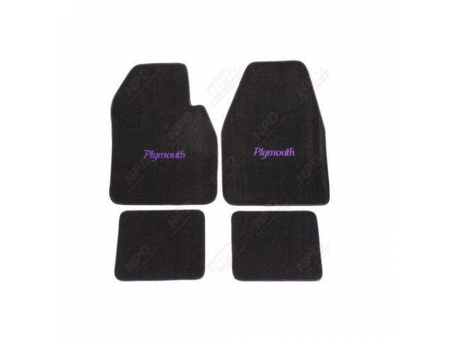 Floor Mat Black W/ Purple Plymouth