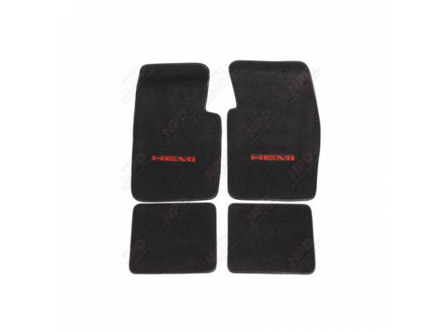 Floor Mat Black W/ Orange Hemi