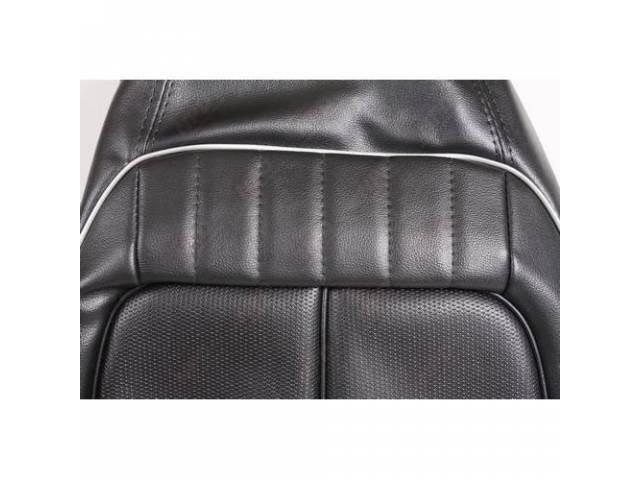 Front Bucket Seat Uph, Black W/ Silver Welt,