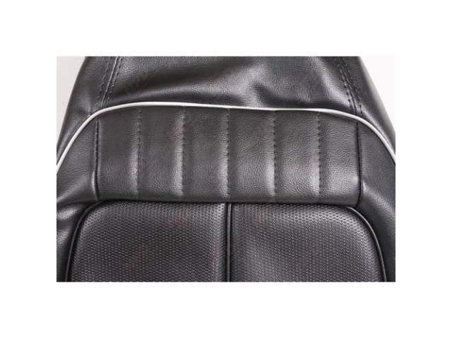 Rear Seat Uph,Black W/ Silver Welts, Coachman Grain