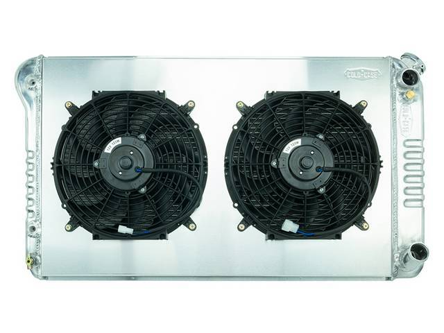 RADIATOR AND FAN KIT, Cold Case, incl p/n K-1219-67JAB cross flow 2 row aluminum radiator, aluminum fan shroud w/ a pair of 12 inch diameter electric fans and attaching hardware, wiring and relay kit available separately under p/n M-8K621-1CC