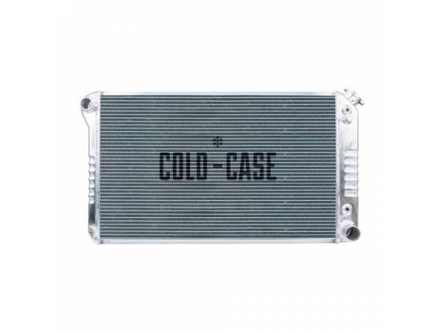 RADIATOR, Cross Flow, Aluminum, 2 row, Cold Case, aluminum version of OE style radiator (can be painted black for OE look), 28.35 inch width x 17.2 inch height x 2.2 inch thick core size, 34.15 inch overall width x 18.6 inch overall height, LH inlet, RH o