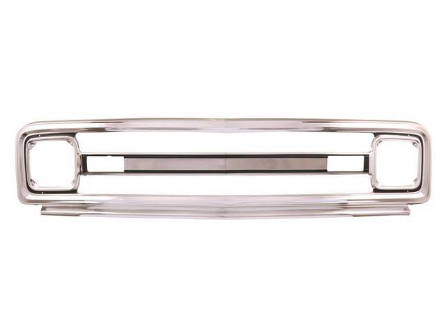GRILLE, Radiator, Outer, polished aluminum, does not have