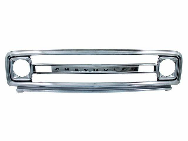 GRILLE, Radiator, Outer, Stamped steel w/ Chrome finish and Black painted accents, Features *Chevrolet* lettering, Repro