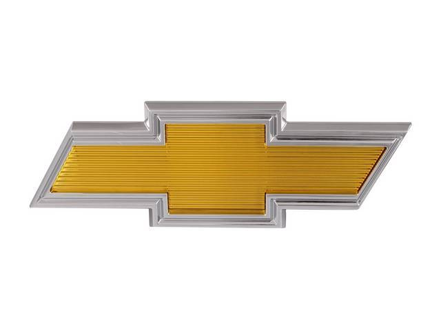 EMBLEM, Grille, *Bowtie*, yellow center w/ chrome surround, Incl hardware, replaces GM p/n 358266, repro ** Mounting studs measure 5 15/16 inches on center **
