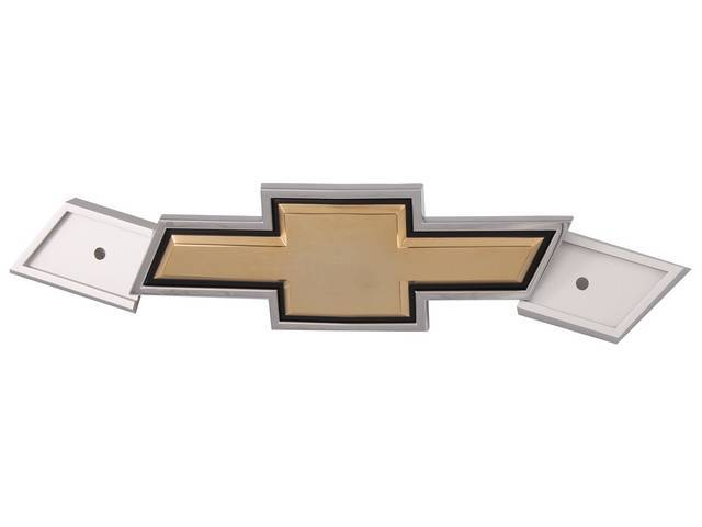 EMBLEM, Grille, *Bowtie*, Gold center w/ chrome surround, Incl hardware, Replaces GM p/n 14043882, Repro