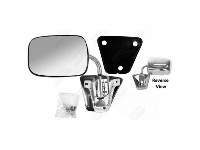 Mirror Rear View Outside Rectangular Head Chrome Steel