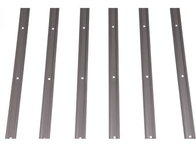 BED STRIP SET, HOLES PRE-PUNCHED, POLISHED STAINLESS STEEL
