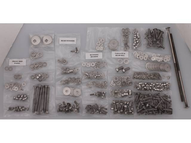 BOLT KIT, Bed, Complete, polished stainless steel, installs bed wood and mount bed to the frame, (606) incl bolts, washers and nuts for bed to frame, front bed panel, cross sill and tail gate, rear fenders (wheel tubs) and running boards