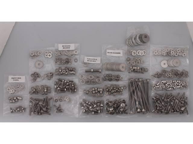 BOLT KIT, Bed, Complete, unpolished stainless steel, installs