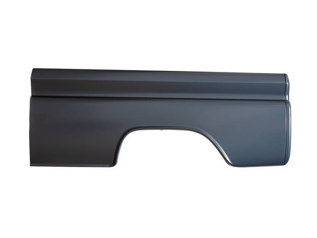 PANEL ASSY, Bedside / Quarter, LH, stamped from OE gauge steel and features correct body lines, mounting points, brackets, stake pockets and tail light bucket,EDP coated repro