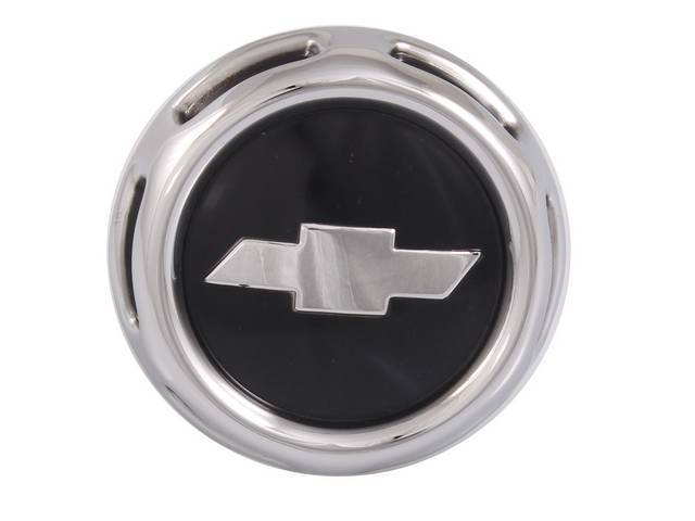 CAP, Horn, *BOWTIE*, Chrome outer ring w/ thin black painted slots, black painted center circle and chrome bowtie, official GM restoration parts repro