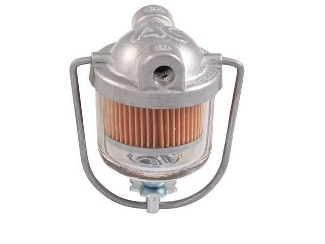 BOWL, Fuel Filter, glass, complete assy w/ filter element and filter gasket, replaces GM p/n 987629, repro