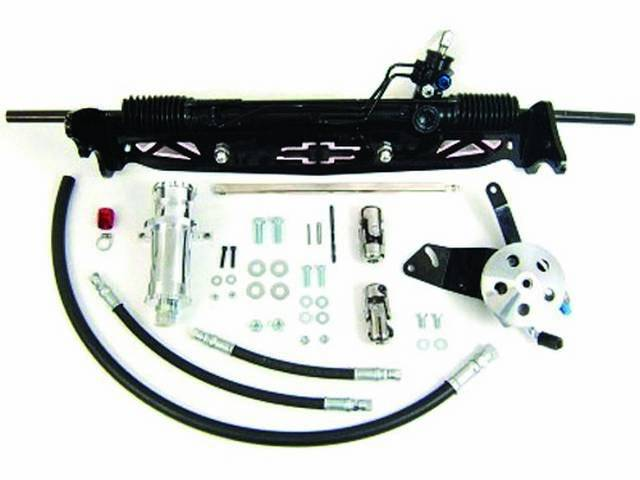 RACK AND PINION CONVERSION KIT, Unisteer, P/S, Bolt on (the rack and pinion / bracket assy installs in same holes as original steering box and idler arm)