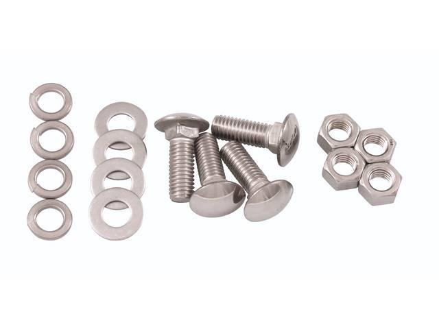 BOLT KIT, Bumper, Rear, polished stainless steel, repro