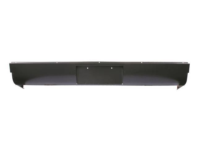 Steel Rear Roll Pan, with license plate pocket, with license lights, repro