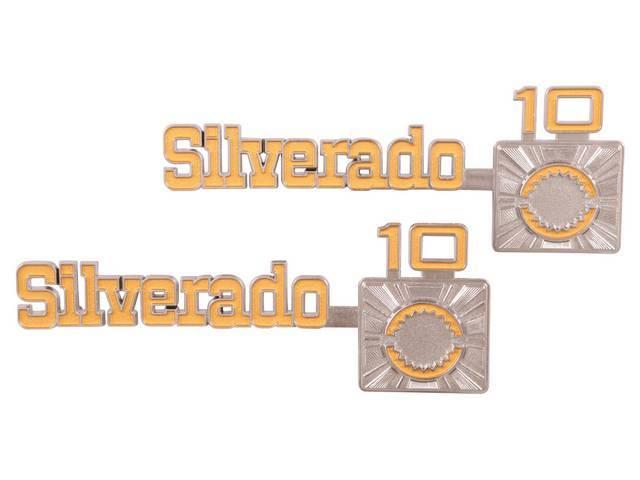EMBLEM SET, Fender, Front, *Silverado C10*, Die-cast, chrome