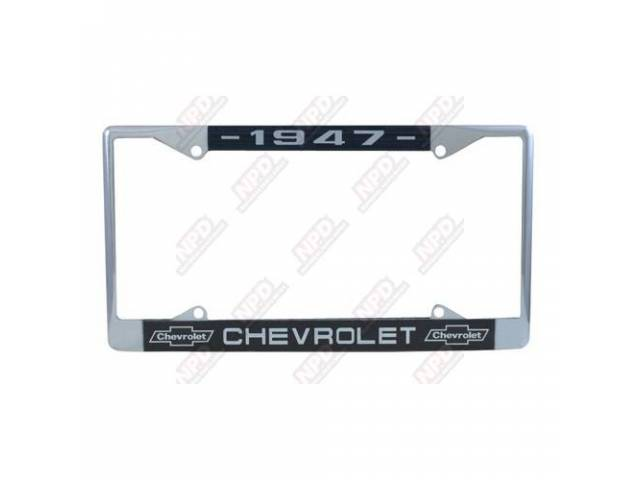 FRAME, License Plate, chrome frame w/ *1947* at the top, the *CHEVROLET* text and *Bowtie* logo at the bottom in white lettering on a dark blue background
