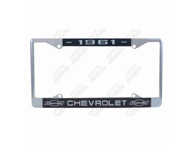 FRAME, License Plate, chrome frame w/ *1961* at