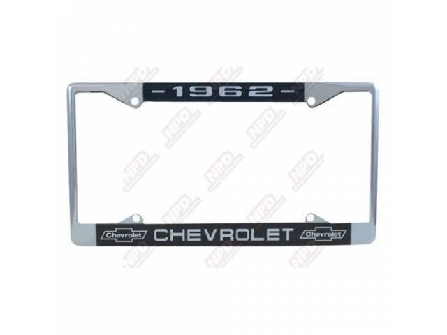 FRAME, License Plate, chrome frame w/ *1962* at