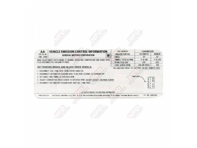 Decal Emission Auto/Manual 292-165 Hp Us-Cal Gm 3982995