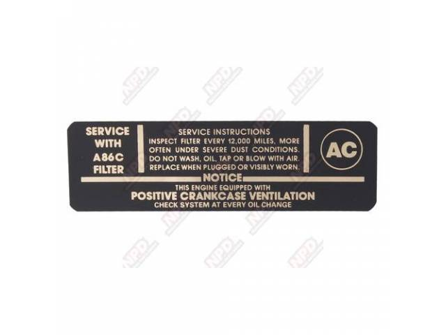 Decal Air Cleaner Goto C-Dc188 Service Instructions