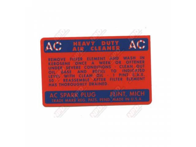 Decal Air Cleaner Service Instructions Oil Bath