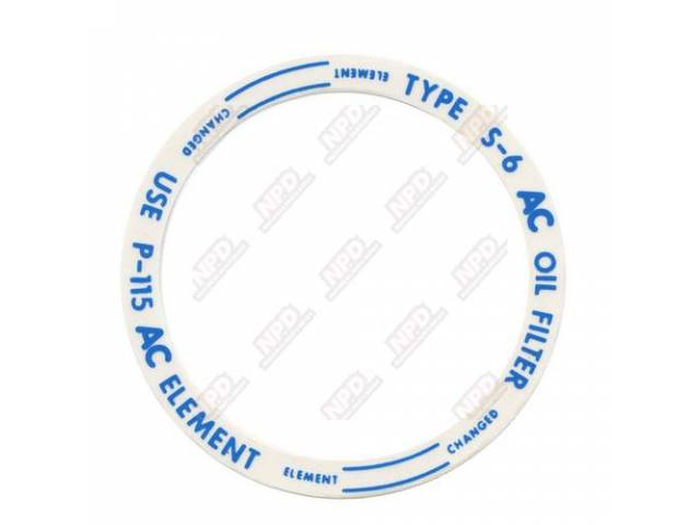 Decal Oil Filter Lid