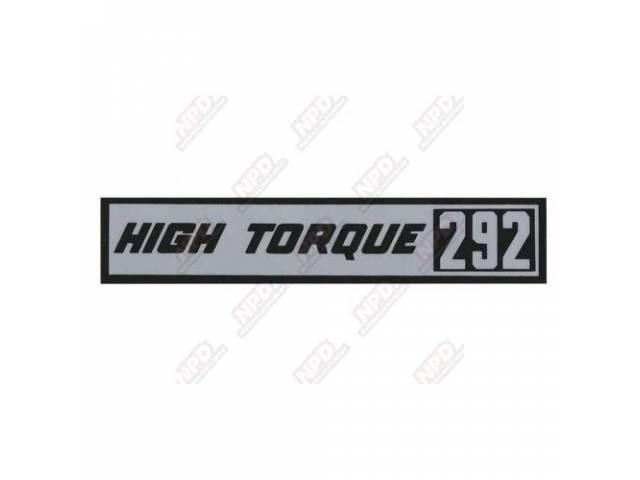 Decal Valve Cover Hi-Torque 292 Gm 3829163