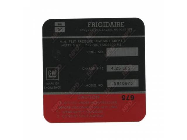 Decal Frigidaire Air Condition Compressor Red Gm 5910675