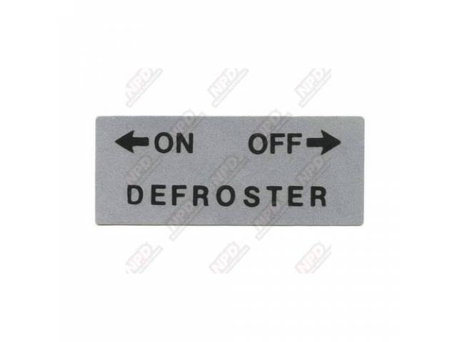 Decal Recirculating Defroster Heater Off-On