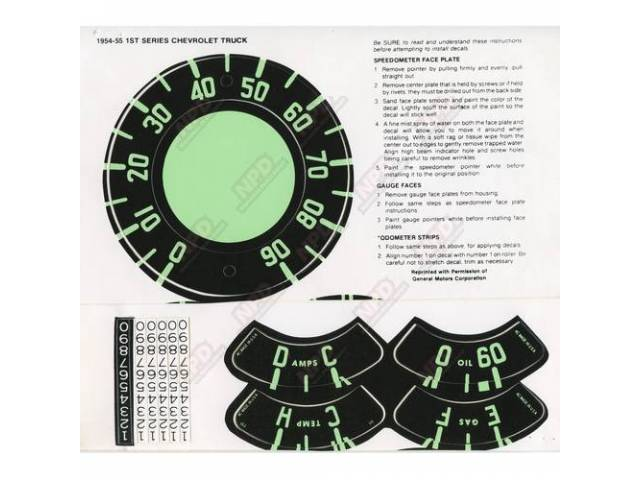 Decal Speedometer Decal Set 1st Series