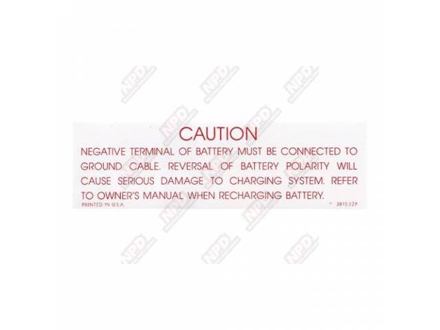 Decal Caution Battery Gm 3815328