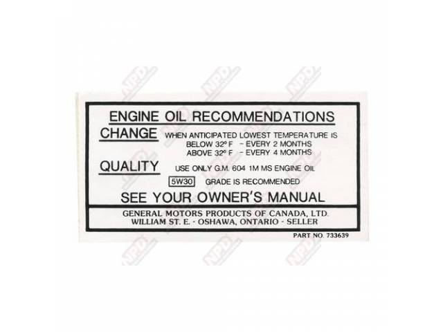 Decal Canada Oil Change Gm 733639