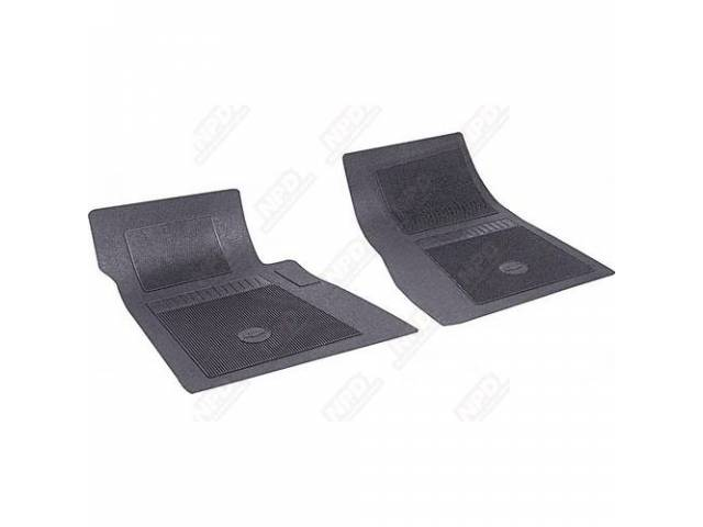 FLOOR MATS, RUBBER, OE STYLE BOW TIE, BLACK, (2), DIE CUT TO FIT ORIGINAL FLOOR PAN CONTOURS, INCL EMBOSSED BOW TIE LOGO AND OE STYLE CARPET GRIPS, REPRO