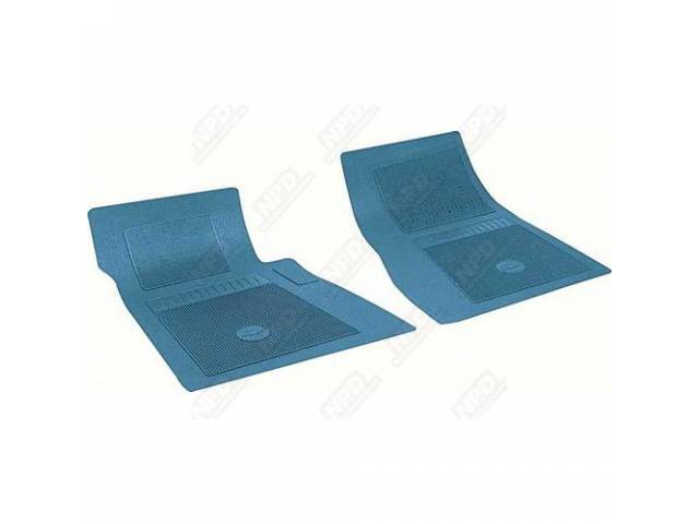 FLOOR MATS, RUBBER, OE STYLE BOW TIE, MED BLUE, (2), DIE CUT TO FIT ORIGINAL FLOOR PAN CONTOURS, INCL EMBOSSED BOW TIE LOGO AND OE STYLE CARPET GRIPS, REPRO