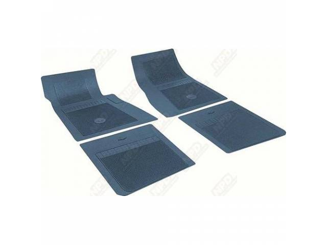 FLOOR MATS, RUBBER, OE STYLE BOW TIE, DARK BLUE, (4), DIE CUT TO FIT ORIGINAL FLOOR PAN CONTOURS, INCL EMBOSSED BOW TIE LOGO AND OE STYLE CARPET GRIPS, REPRO