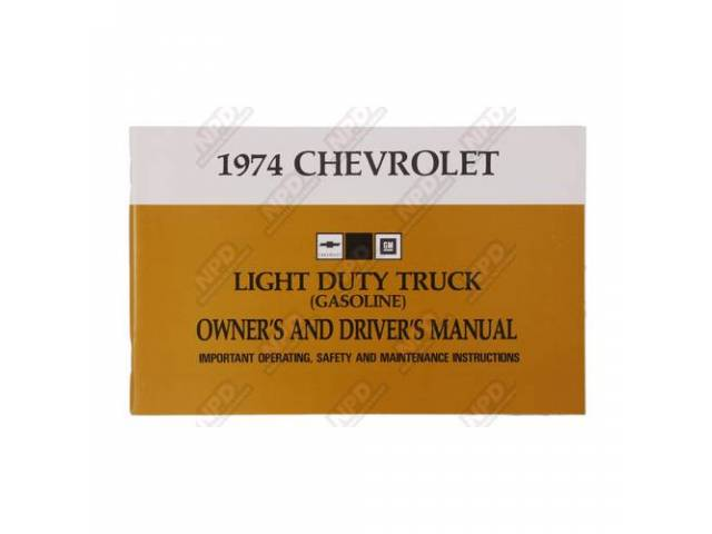 Book Chevy Truck Owners Manual Light Duty Repro