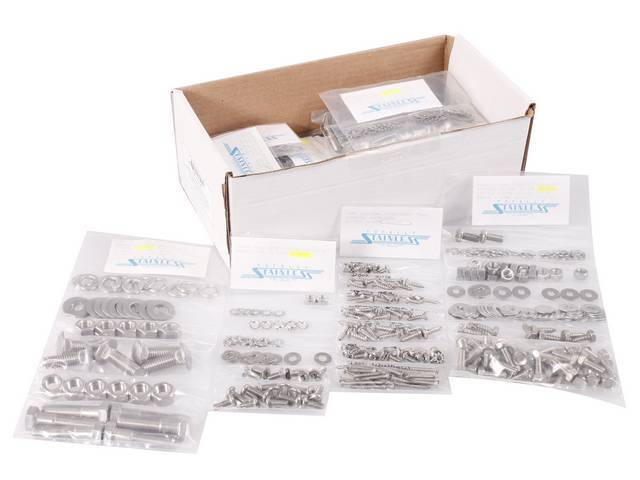 MASTER BODY HARDWARE KIT, Stainless, features indented hex